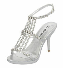 "NEW Star Rhinestone Silver 4"" Prom Pageant Evening Shoe by Lava #2335 Size 7"