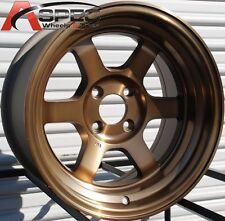 "15X9"" ROTA GRID-V WHEELS 4X100 SPORT BRONZE RIMS +0 STANCE FITS CIVIC CRX"