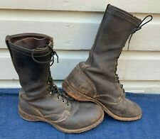Mens Old VTG 1940s 1950s WESCO Black Leather Caulked Logger Work Boots Size 9 E