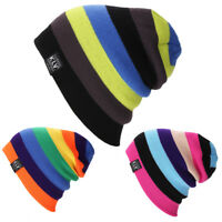EG_ Women Men Rainbow Beanie Hat Knitted Winter Warm Ski Sports Cap Well