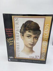 "New White Mountain Audrey Hepburn Postage Stamp 1000 Piece Puzzle 27""x20"" Sealed"