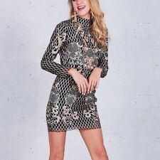 Women tight o-neck long sleeve backless halter sequin embroidery club dress 4659