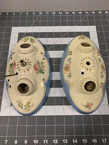 (2)  Vintage Porcelier Porcelain 2-Bulb Ceiling Light Fixtures  USED