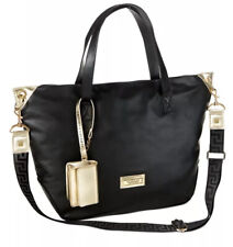 VERSACE PARFUMS Black TOTE SHOULDER SHOPPER WEEKENDER TRAVEL BAG & Gold Wristlet