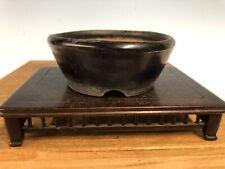 "Handmade Unknown Japanese Shohin Or Mame Size Bonsai Tree Pot 3 7/8"" Blue Glaze"