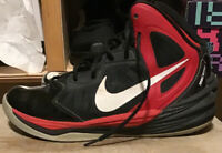 Men's NIKE Prime Hype DF Basketball Shoes, Size: 8 #683705-006, Black & Red