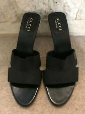 Gucci Ladies Black Leather Mid Heel Mules EU 39c  US 8 UK 6