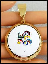 Large Chubby Gold tone Vintage 1970s Enameled Locket for Necklace