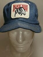 Vintage Bush Hog Denim  Trucker Hat Snapback Hat Cap K-Brand USA Made Patch