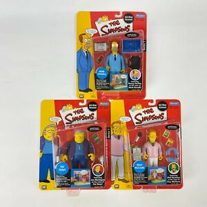 The Simpsons Lot Of 3 Series 1 WOS Figures Playmates 2002 Herb Fat Tony Troy
