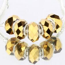 Yellow AB 5pcs MURANO glass bead LAMPWORK fit European Charm Bracelet