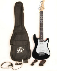 SX RST 1/2 BK Black Electric Guitar Package 1/2 Size w/Strap and Bag