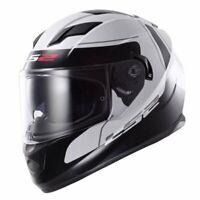 LS2 FF320 Stream Lunar Motorcycle Motorbike Helmet White Black - Large