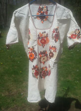 Maya Mexican Blouse Top Shirt Embroidered Flowers Chiapas Ivory White XL 2XL #3O