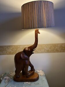 ANTIQUE  ANGLO/INDIAN  WOODEN ELEPHANT TABLE LAMP WITH CARVED BASE TWISTED WIRE