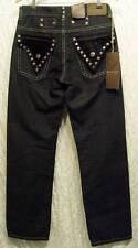 GOTHIC Black Velvet STUDS Crest Buttons Boot Cut SACRED CULT Denim Jeans! 30/33