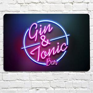 Gin & Tonic Cocktail Bar Sign - Neon light effect wall Metal Wall A4 Bar Sign