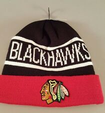 Chicago Blackhawks NHL Youth Winter Knit Beanie Hat Black Red White New