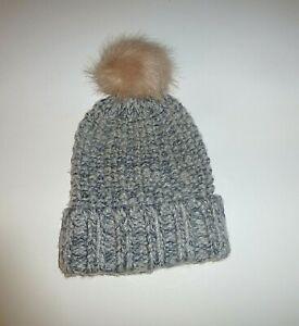 Ladies PomPom Style Winter Hat- Next - Grey & Pink- One Size - NEW