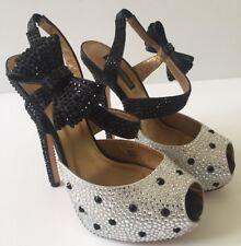 Benjamin Adams Swarkoski Crystal Slingback Peep Toe Shoes Size UK 4 /EU 37