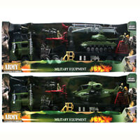 2 MILITARY 8PC PLAY SET TOY ARMY HELICOPTER TANK SOLDIERS 37FF TRANSPORTER TRUCK