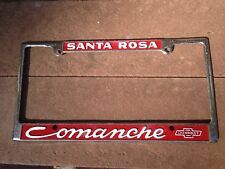 Vintage Santa Rosa California Comanche Chevrolet dealership license plate frame