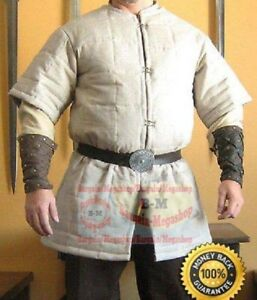 Medieval Celtic Viking Armor Short Sleeves Padded Quilted  Gambeson White Color