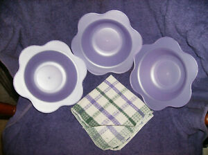 NEW 4 PC PURPLE 3 CEREAL BOWLS & DISH CLOTH WITH SCOUR BACK SALAD ICE CREAM