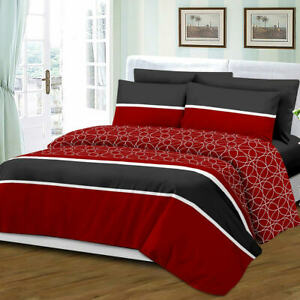 Queen Size 6 Piece Sheet Set Bamboo Style Deep Pocket Fade Resistant Red Black