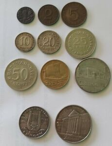 ESTONIA SENTI/KROON 11 COINS FULL SET, 1928-1936 INCLUDING 3 SILVER RARE!!!