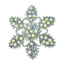 Christmas Snowflake Brooch Made With Swarovski Crystal AB Pin Snow Winter Gift