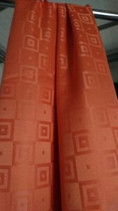 60er 70er J. Retro  Design Gardine Vorhang  orange Space Age 2 x  137cm x 225 cm