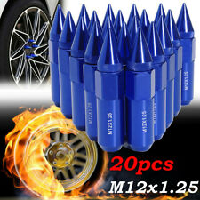 20Pcs Aluminum M12X1.25 Wheels Rims Lug Nuts Spiked 60mm Extended Tuner Blue