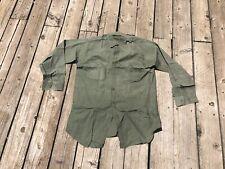 "Vtg 40s WW2 USN Stencil N-3 Green Utility Shirt Sz 15 1/2"" WWII Seabees (E9)"