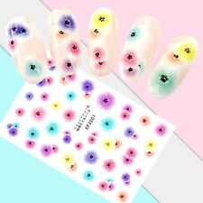 Nail Art Stickers Transfers 3D Self Adhesive Multicoloured Flowers (XF3001)