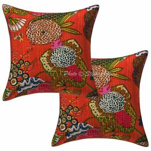 Handmade Cotton Kantha Sofa Cushion Cover Orange Tropicana Pillow Cover