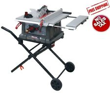 "Craftsman 10"" Portable Table Saw 15 Amp Cut Wood Lumber Wheels Folding Workshop"