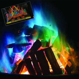 Happy Fire Colourful Flames Sachet Bonfire Camping Mystical Changing Log Burner