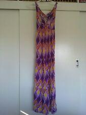 ROXY Tropical abstract Print Beach Hawaiian Long Maxi Dress Sz 8-10