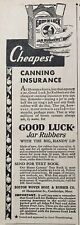 1932 AD.(XD3)~BOSTON WOVEN HOSE & RUBBER CO. CAMBRIDGE, MA.GOOD LUCK JAR RUBBERS