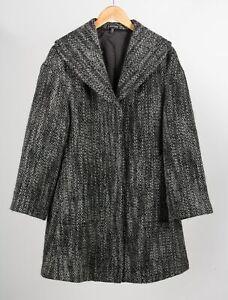 Eileen Fisher Womens Dress Coat Gray Black Marled Shawl Collar Lined Wool XS
