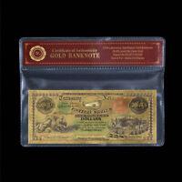 WR 1864 $100 Confederate States of America GOLD Foil Banknote Colored 24K /w COA