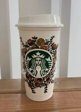 Starbucks 2015 Flower Floral Fall Reusable White Cup 16oz