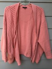 LAFAYETTE 148 Chunky Knit Open Long Cardigan Coral Pink Size M/ L Wool Cashmere