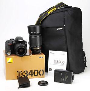 Nikon D3400 DSLR Camera Dual Lens Kit AF-P 18-55mm & AF-S 55-200mm VR  487 Shots