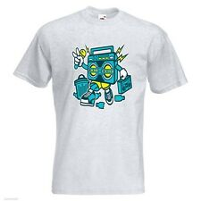 Boombox Mens PRINTED T-SHIRT Cartoon Trash Can Microphone