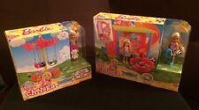 Brand New NIP Lot: 2 Play Sets: Barbie Chelsea Dolls Carousel Swing & Fun House