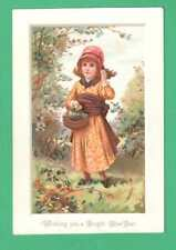 SCARCE VICTORIAN NEW YEAR GREETING CARD GIRL COLLECTING BERRIES BASKET