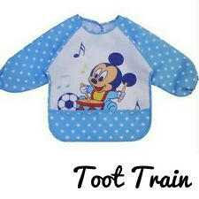 Toddler baby smock bib easy clean baby blue mickey mini mouse winnie the pooh