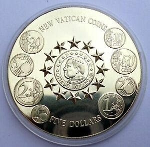 Liberia 5 Dollars 2003 Copper Nickel Coin Prooflike The New Vatican Euro (T2,1)